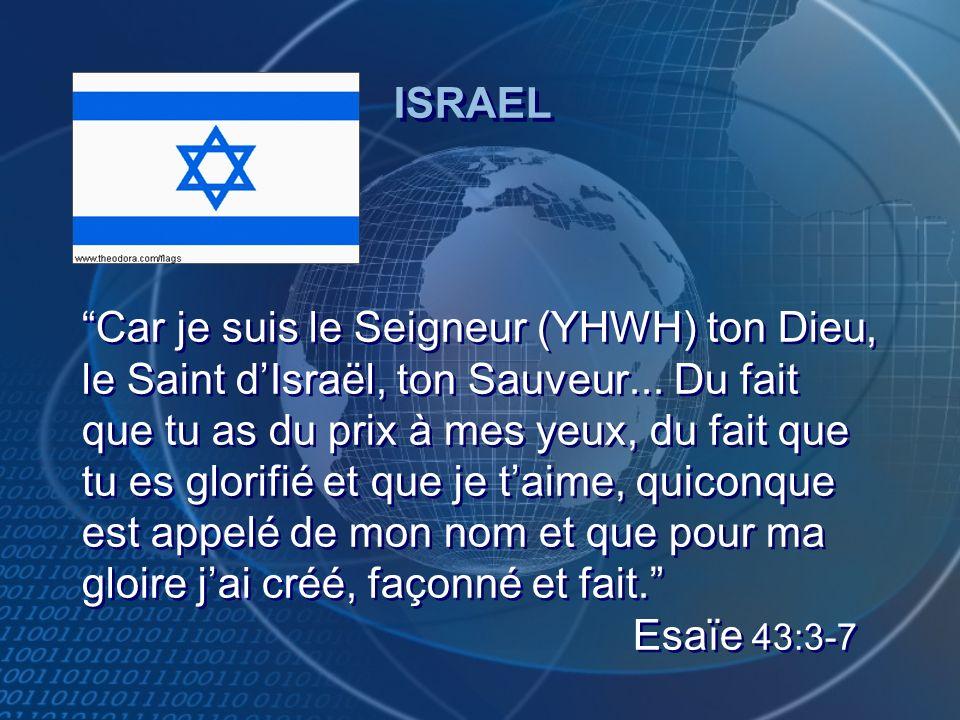 Car je suis le Seigneur (YHWH) ton Dieu, le Saint dIsraël, ton Sauveur... Du fait que tu as du prix à mes yeux, du fait que tu es glorifié et que je t