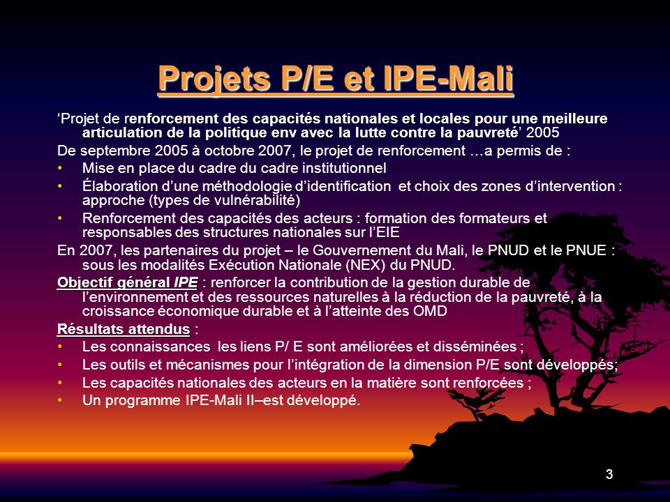 3 Projets P/E et IPE-Mali enforcement des capacités nationales et locales pour une meilleure articulation de la politique env avec la lutte contre la
