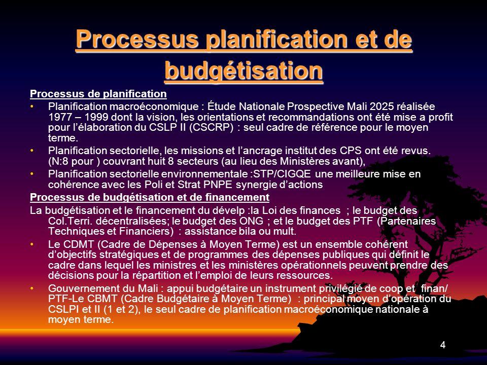 4 Processus planification et de budgétisation Processus de planification Planification macroéconomique : Étude Nationale Prospective Mali 2025 réalisé