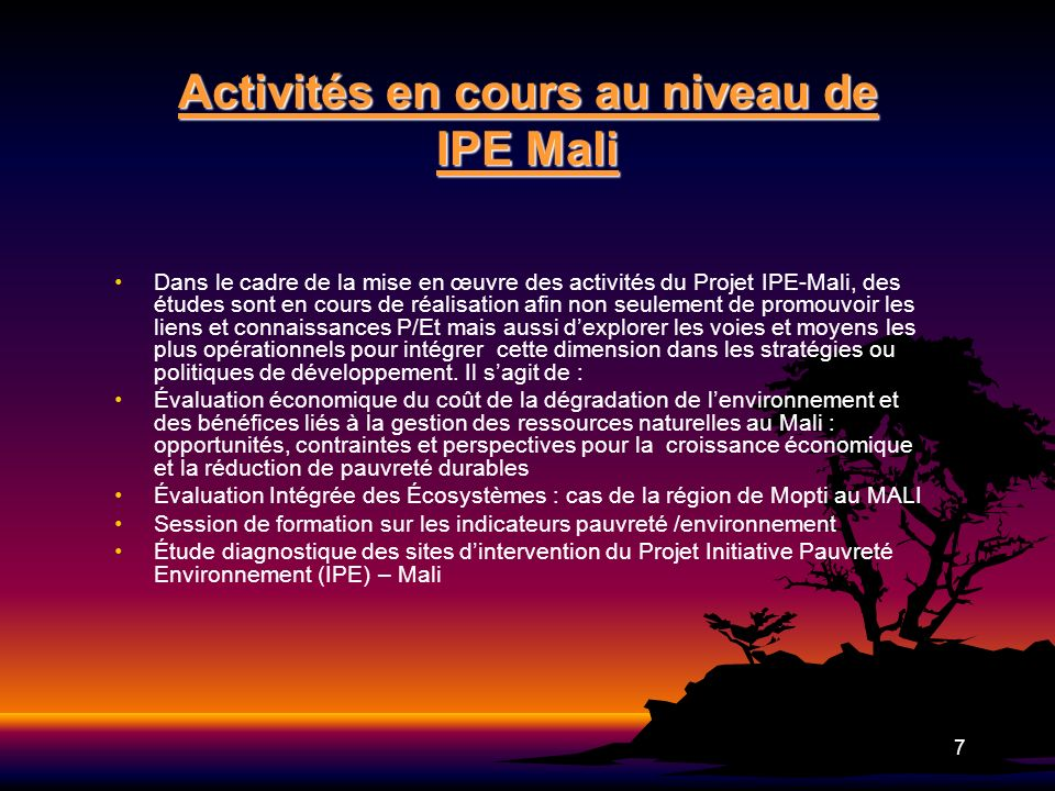 8 Points dentrée et opportunités dinfluence/ de perspectives pour le projet IPE-Mali Planification et budgétisation nationale CSCRP I et II Planification et budgétisation nationale CSCRP I et II Deux actions programmées ont été identifiées comme de grandes opportunités à saisir par le Projet IPE - Mali pour influencer les prises de décisions en faveur de lenvironnement et de la DPE.