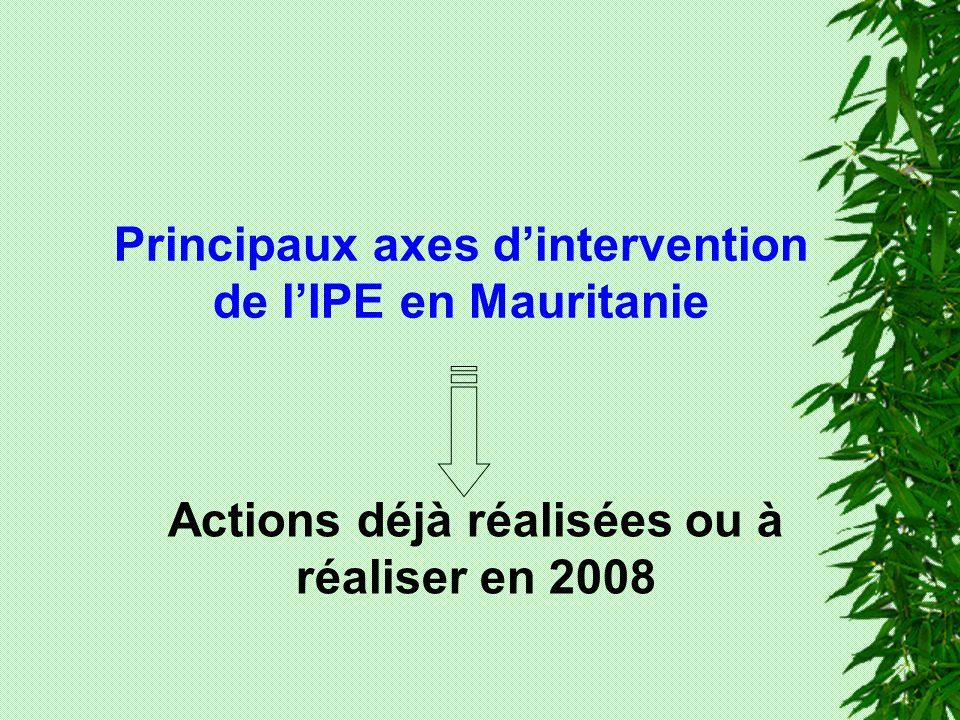 Principaux axes dintervention de lIPE en Mauritanie Actions déjà réalisées ou à réaliser en 2008