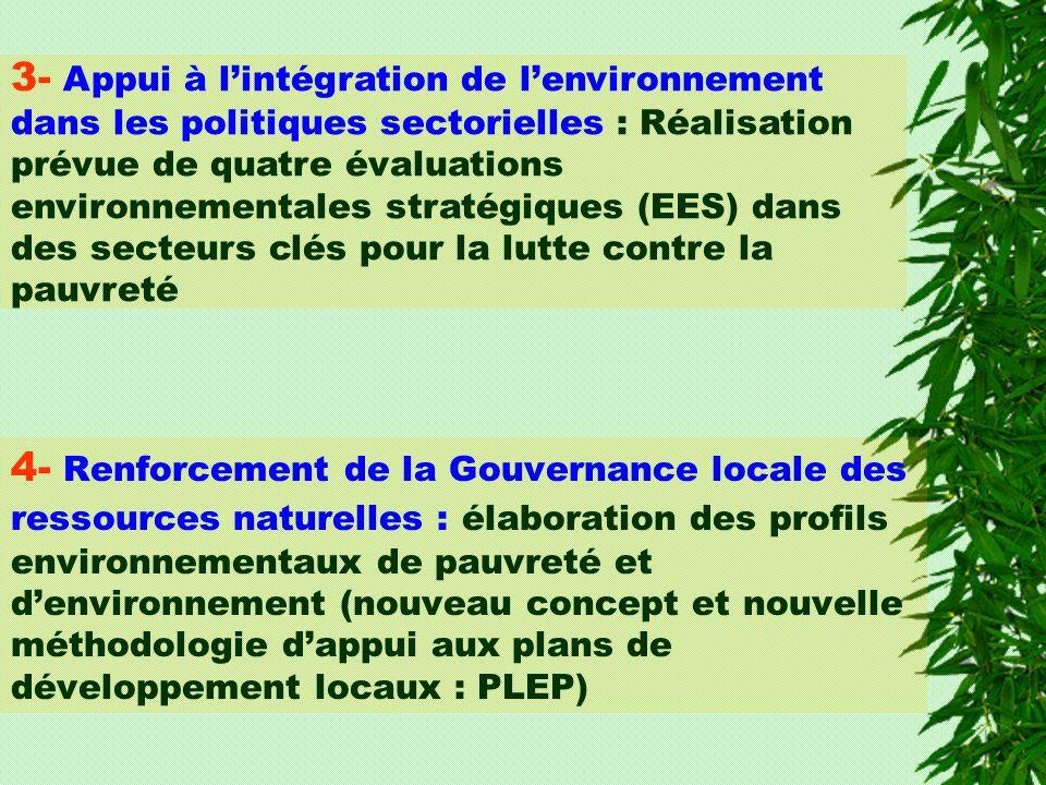 3- Appui à lintégration de lenvironnement dans les politiques sectorielles : Réalisation prévue de quatre évaluations environnementales stratégiques (EES) dans des secteurs clés pour la lutte contre la pauvreté 4- Renforcement de la Gouvernance locale des ressources naturelles : élaboration des profils environnementaux de pauvreté et denvironnement (nouveau concept et nouvelle méthodologie dappui aux plans de développement locaux : PLEP)