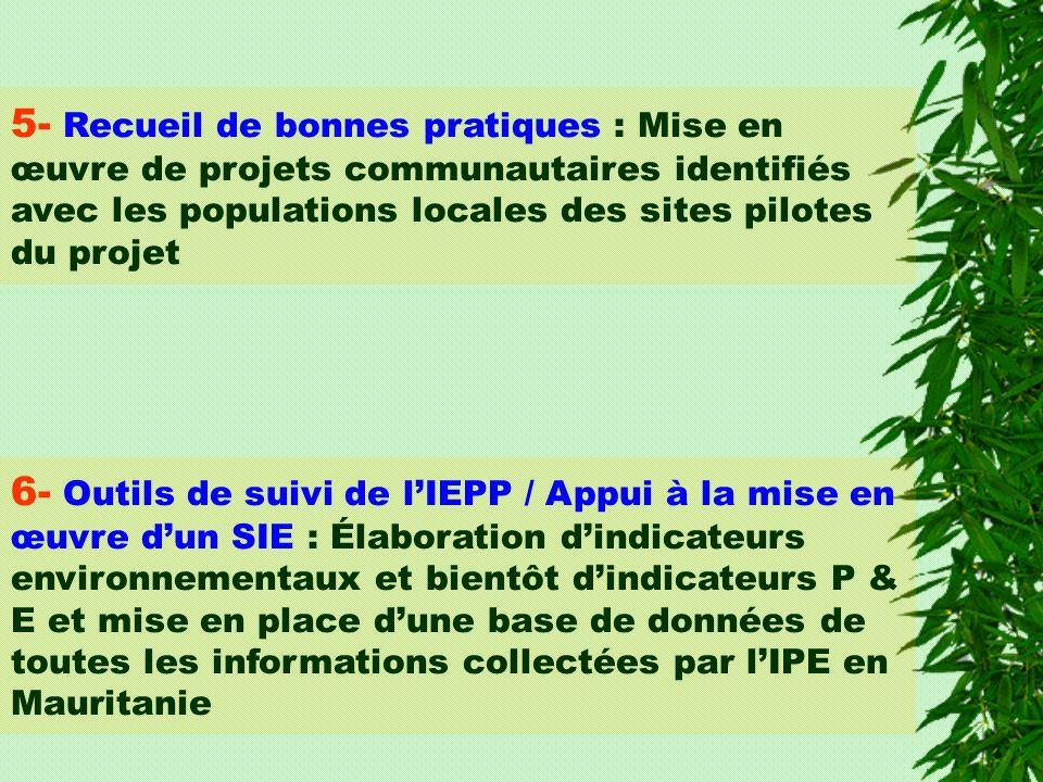 5- Recueil de bonnes pratiques : Mise en œuvre de projets communautaires identifiés avec les populations locales des sites pilotes du projet 6- Outils