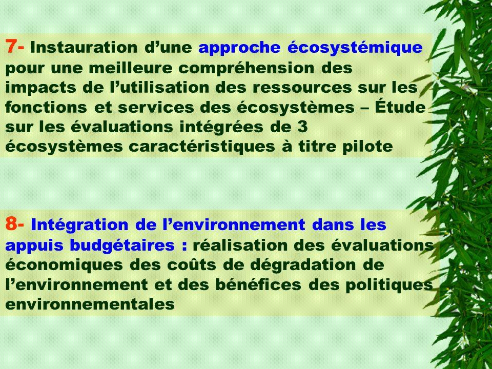 8- Intégration de lenvironnement dans les appuis budgétaires : réalisation des évaluations économiques des coûts de dégradation de lenvironnement et des bénéfices des politiques environnementales 7- Instauration dune approche écosystémique pour une meilleure compréhension des impacts de lutilisation des ressources sur les fonctions et services des écosystèmes – Étude sur les évaluations intégrées de 3 écosystèmes caractéristiques à titre pilote
