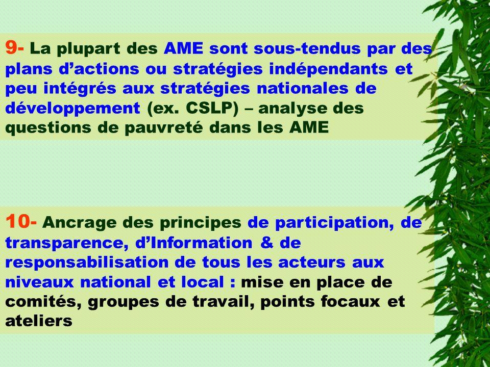 9- La plupart des AME sont sous-tendus par des plans dactions ou stratégies indépendants et peu intégrés aux stratégies nationales de développement (e