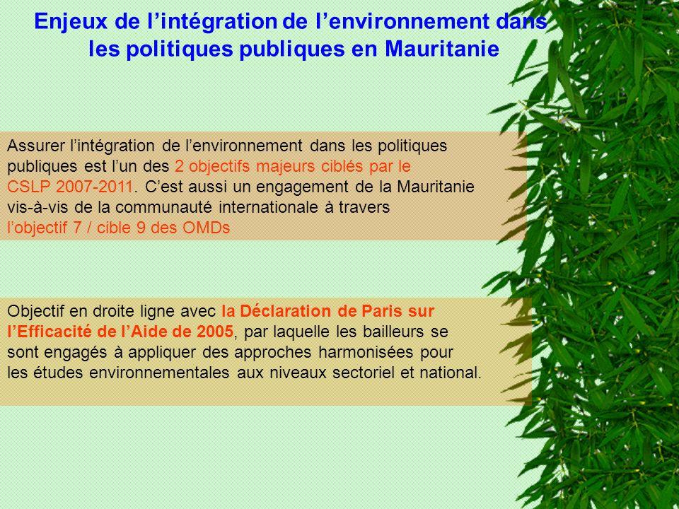 Assurer lintégration de lenvironnement dans les politiques publiques est lun des 2 objectifs majeurs ciblés par le CSLP 2007-2011.