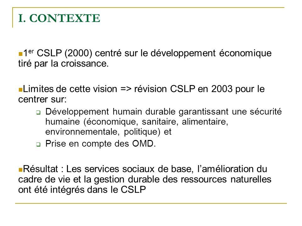 I. CONTEXTE 1 er CSLP (2000) centré sur le développement économique tiré par la croissance.