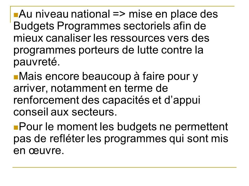 Au niveau national => mise en place des Budgets Programmes sectoriels afin de mieux canaliser les ressources vers des programmes porteurs de lutte contre la pauvreté.
