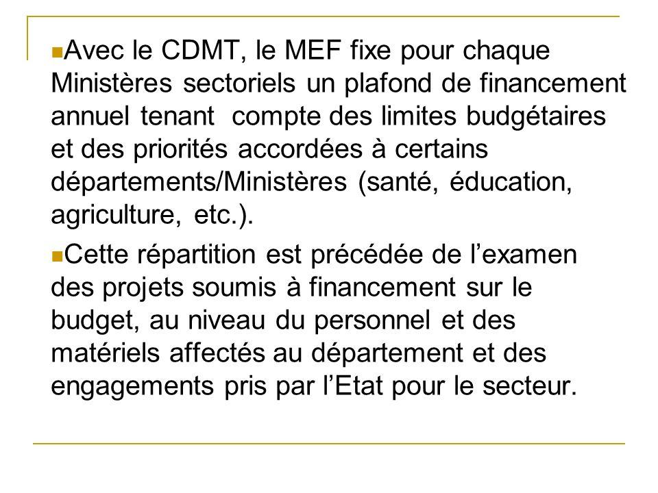 Avec le CDMT, le MEF fixe pour chaque Ministères sectoriels un plafond de financement annuel tenant compte des limites budgétaires et des priorités accordées à certains départements/Ministères (santé, éducation, agriculture, etc.).