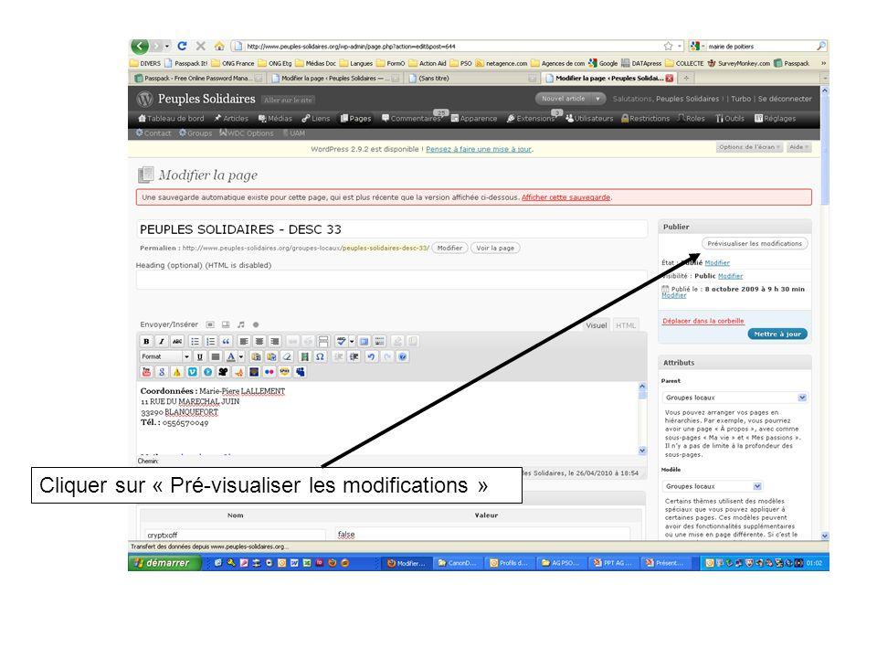 Cliquer sur « Pré-visualiser les modifications »