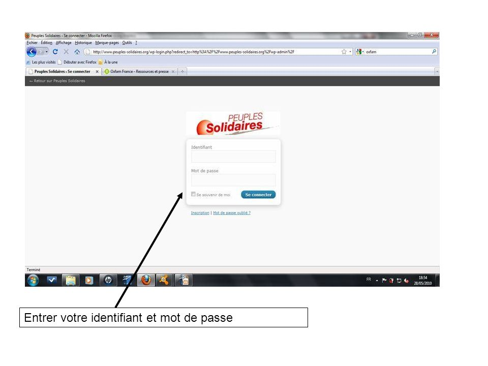 Entrer votre identifiant et mot de passe