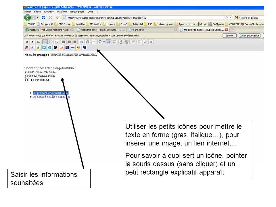 Saisir les informations souhaitées Utiliser les petits icônes pour mettre le texte en forme (gras, italique…), pour insérer une image, un lien internet… Pour savoir à quoi sert un icône, pointer la souris dessus (sans cliquer) et un petit rectangle explicatif apparaît