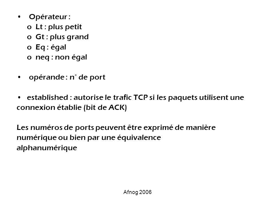 Afnog 2006 Opérateur : o Lt : plus petit o Gt : plus grand o Eq : égal o neq : non égal opérande : n° de port established : autorise le trafic TCP si