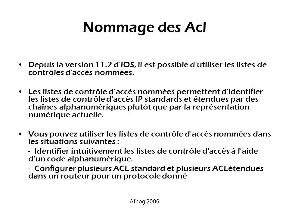Afnog 2006 Nommage des Acl Depuis la version 11.2 dIOS, il est possible dutiliser les listes de contrôles daccès nommées. Les listes de contrôle d'acc