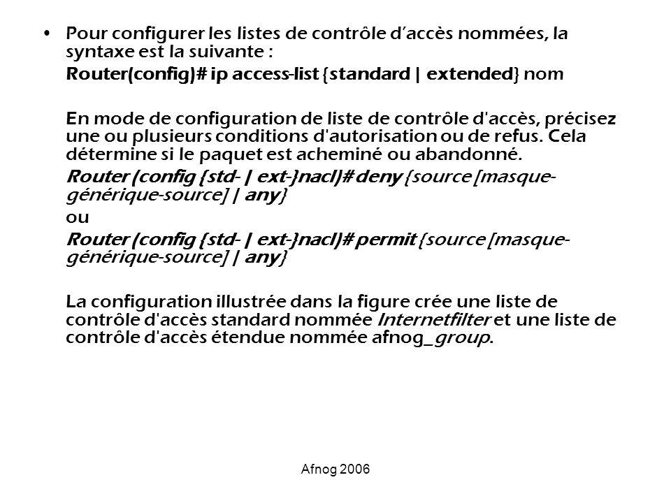 Afnog 2006 Pour configurer les listes de contrôle daccès nommées, la syntaxe est la suivante : Router(config)# ip access-list {standard   extended} no