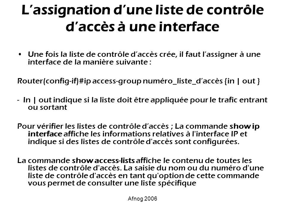 Afnog 2006 Lassignation dune liste de contrôle daccès à une interface Une fois la liste de contrôle daccès crée, il faut lassigner à une interface de