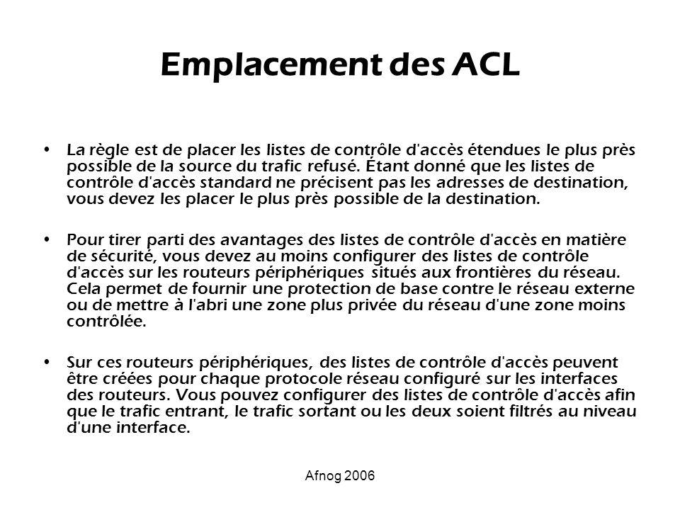 Afnog 2006 Emplacement des ACL La règle est de placer les listes de contrôle d'accès étendues le plus près possible de la source du trafic refusé. Éta