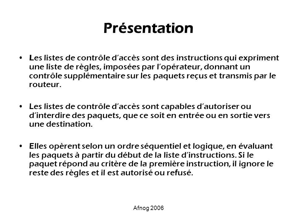Afnog 2006 Présentation Les listes de contrôle daccès sont des instructions qui expriment une liste de règles, imposées par lopérateur, donnant un con
