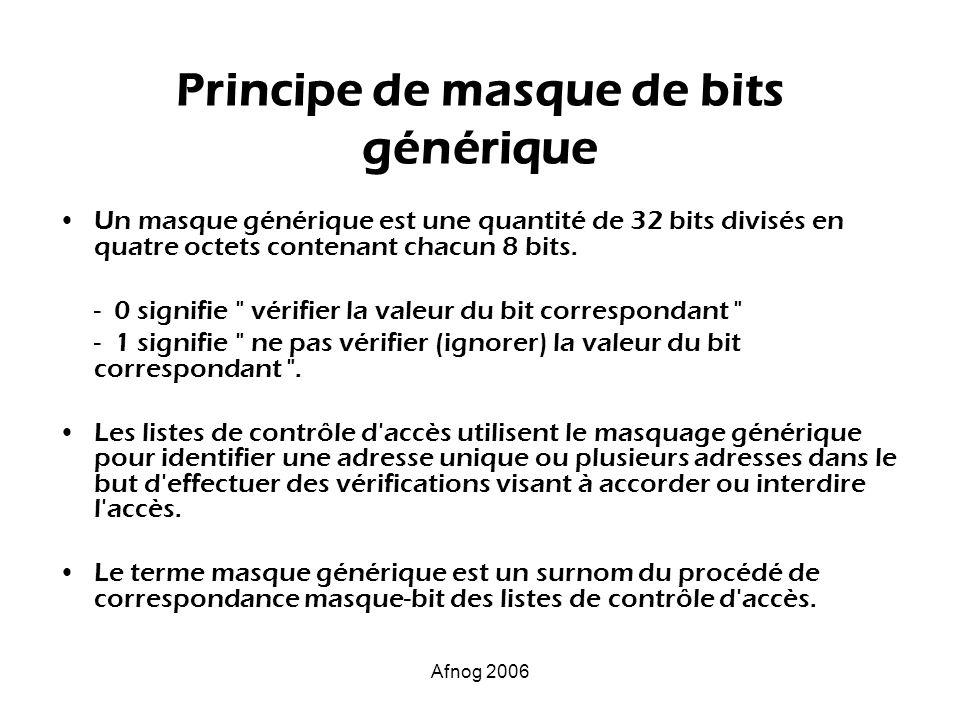 Principe de masque de bits générique Un masque générique est une quantité de 32 bits divisés en quatre octets contenant chacun 8 bits. - 0 signifie