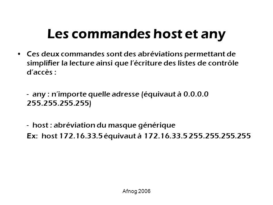 Afnog 2006 Les commandes host et any Ces deux commandes sont des abréviations permettant de simplifier la lecture ainsi que lécriture des listes de co
