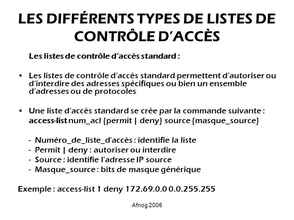 Afnog 2006 LES DIFFÉRENTS TYPES DE LISTES DE CONTRÔLE DACCÈS Les listes de contrôle daccès standard : Les listes de contrôle daccès standard permetten