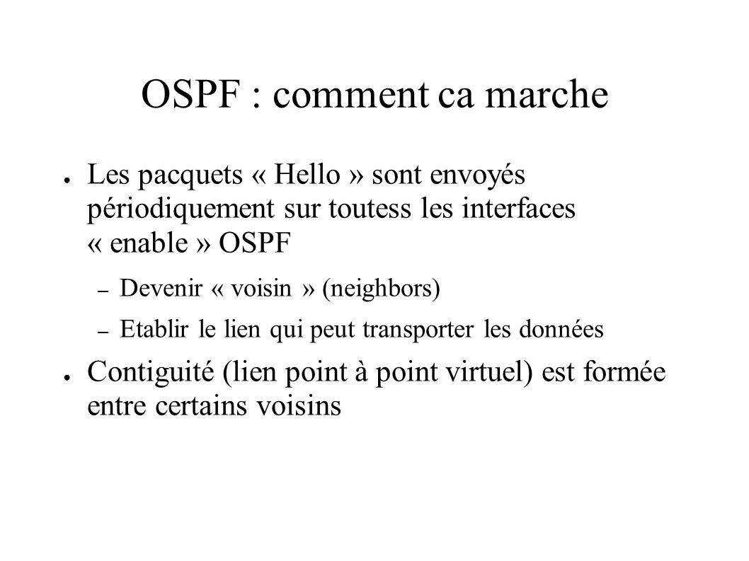 OSPF : comment ca marche Les pacquets « Hello » sont envoyés périodiquement sur toutess les interfaces « enable » OSPF – Devenir « voisin » (neighbors