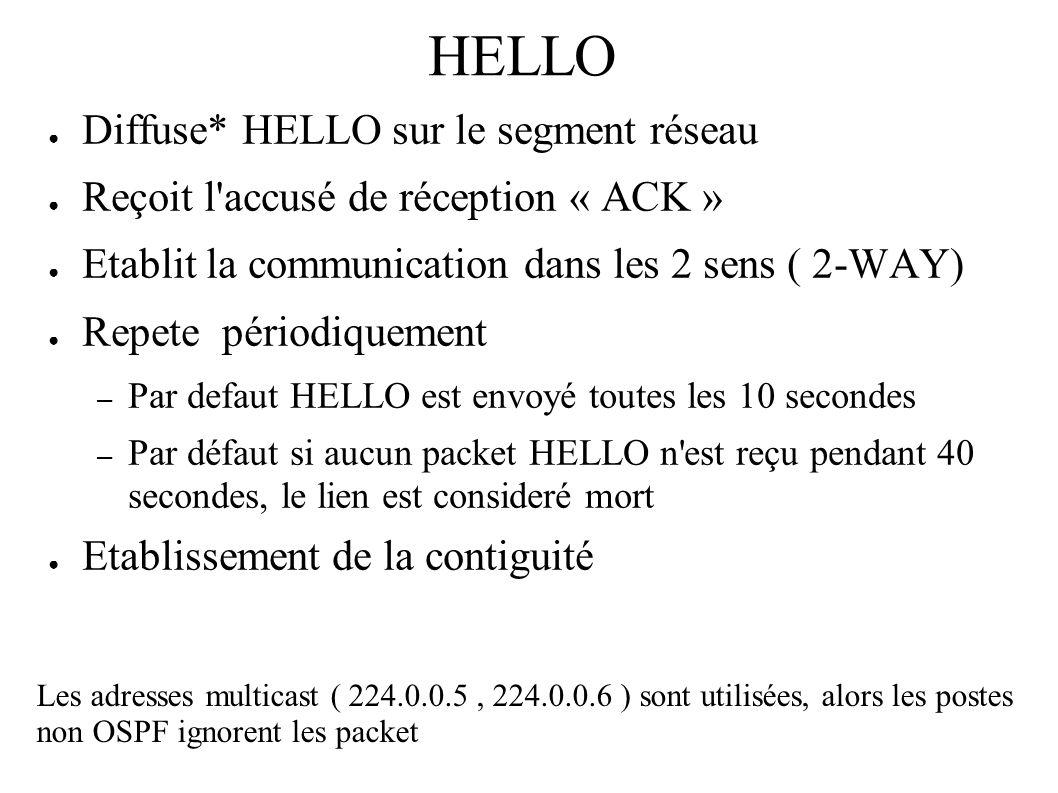 HELLO Diffuse* HELLO sur le segment réseau Reçoit l'accusé de réception « ACK » Etablit la communication dans les 2 sens ( 2-WAY) Repete périodiquemen