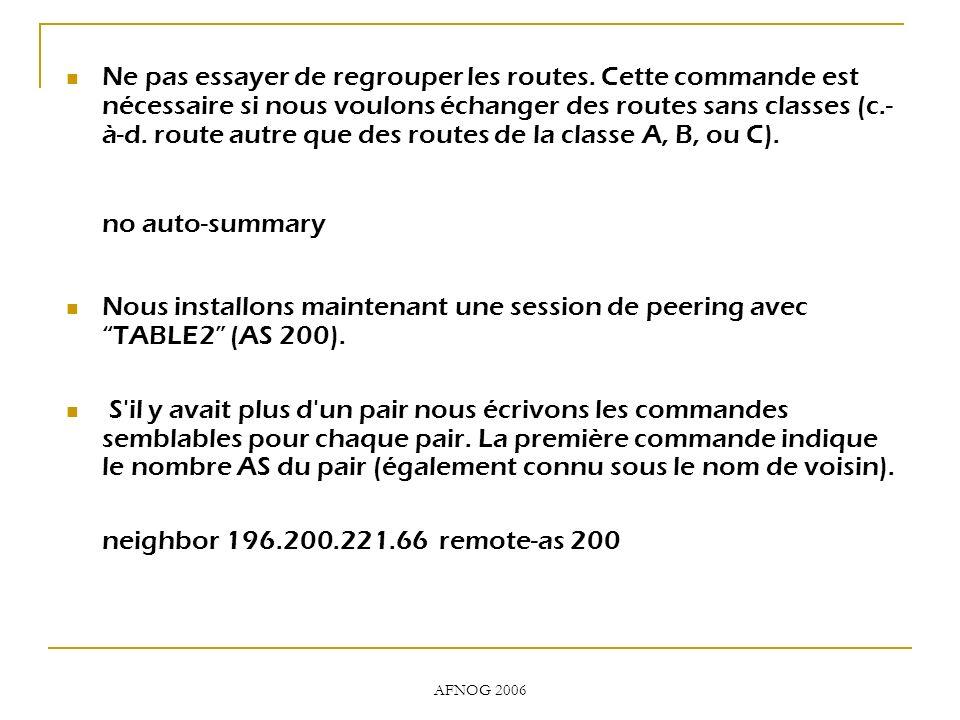 AFNOG 2006 Ne pas essayer de regrouper les routes. Cette commande est nécessaire si nous voulons échanger des routes sans classes (c.- à-d. route autr