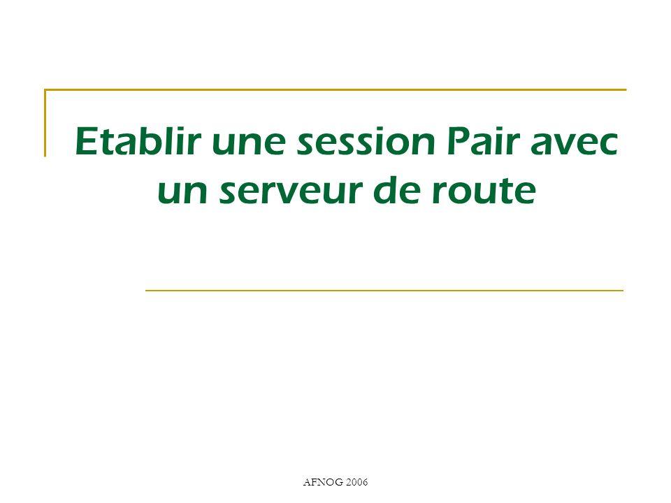 AFNOG 2006 Etablir une session Pair avec un serveur de route
