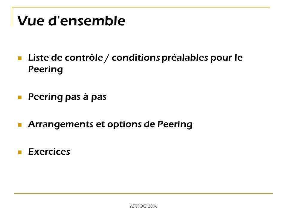 AFNOG 2006 Vue d ensemble Liste de contrôle / conditions préalables pour le Peering Peering pas à pas Arrangements et options de Peering Exercices