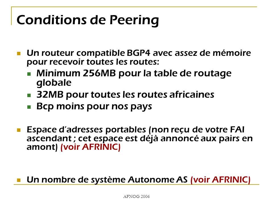 AFNOG 2006 Conditions de Peering Un routeur compatible BGP4 avec assez de mémoire pour recevoir toutes les routes: Minimum 256MB pour la table de routage globale 32MB pour toutes les routes africaines Bcp moins pour nos pays Espace dadresses portables (non reçu de votre FAI ascendant ; cet espace est déjà annoncé aux pairs en amont) (voir AFRINIC) Un nombre de système Autonome AS (voir AFRINIC)
