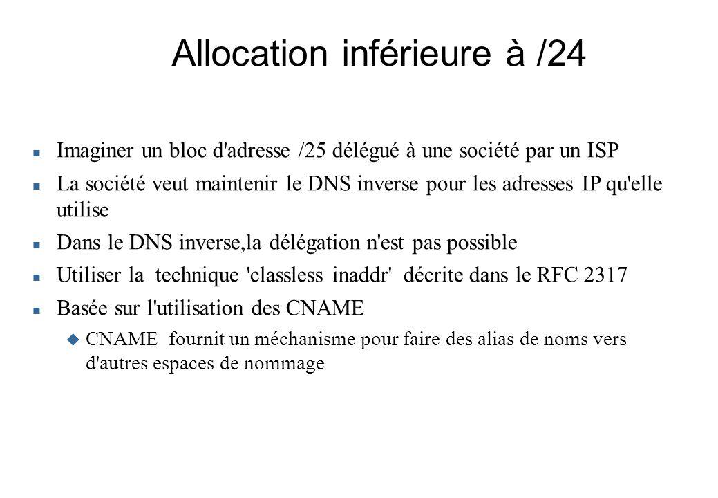 Allocation inférieure à /24 Imaginer un bloc d'adresse /25 délégué à une société par un ISP La société veut maintenir le DNS inverse pour les adresses