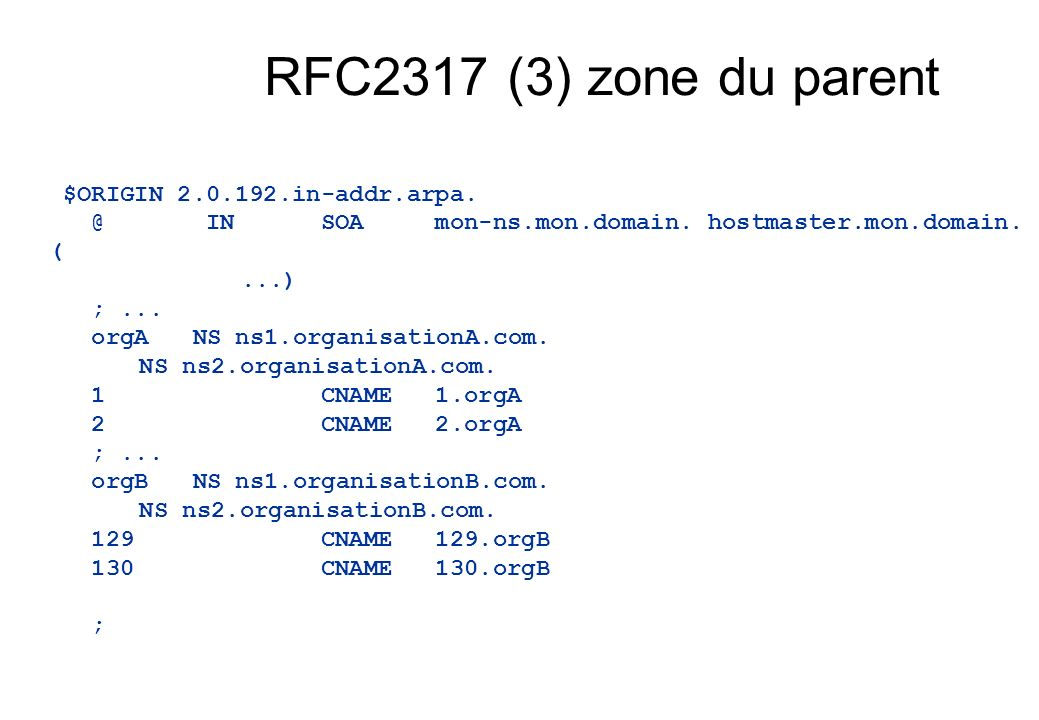RFC2317 (3) zone du parent $ORIGIN 2.0.192.in-addr.arpa. @ IN SOA mon-ns.mon.domain. hostmaster.mon.domain. (...) ;... orgANS ns1.organisationA.com. N