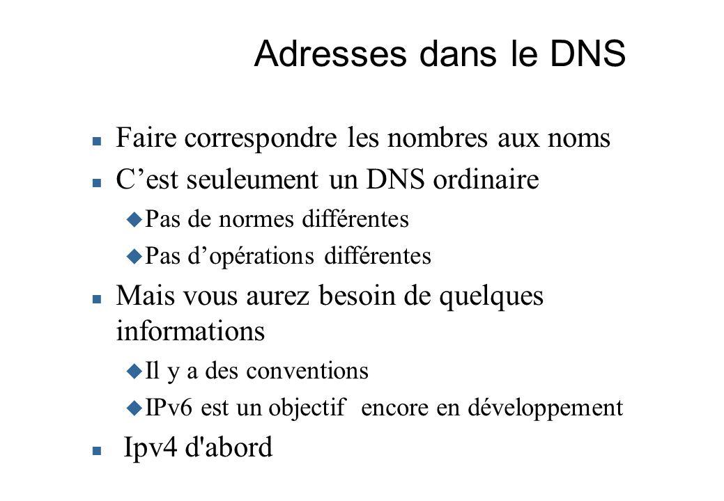 Adresses dans le DNS Faire correspondre les nombres aux noms Cest seuleument un DNS ordinaire Pas de normes différentes Pas dopérations différentes Ma