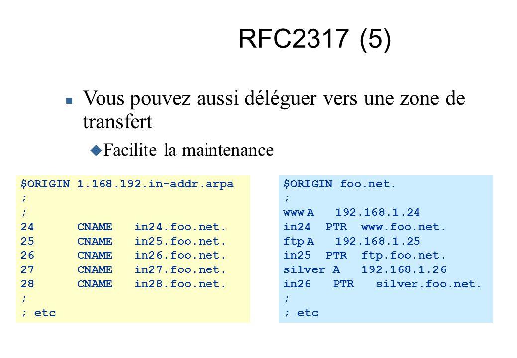 RFC2317 (5) Vous pouvez aussi déléguer vers une zone de transfert Facilite la maintenance $ORIGIN 1.168.192.in-addr.arpa ; 24 CNAME in24.foo.net. 25 C