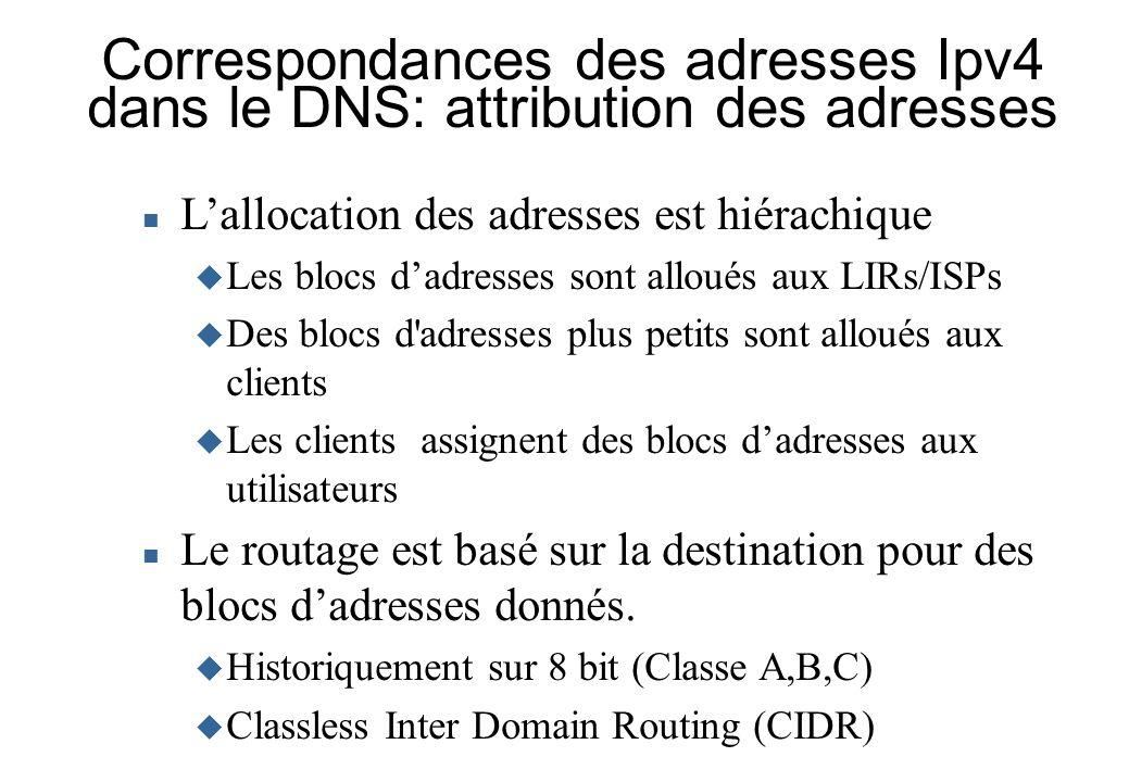 Correspondances des adresses Ipv4 dans le DNS: attribution des adresses Lallocation des adresses est hiérachique Les blocs dadresses sont alloués aux