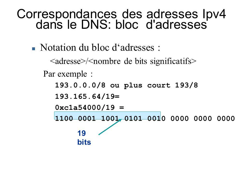 Correspondances des adresses Ipv4 dans le DNS: bloc d'adresses Notation du bloc dadresses : / Par exemple : 193.0.0.0/8 ou plus court 193/8 193.165.64
