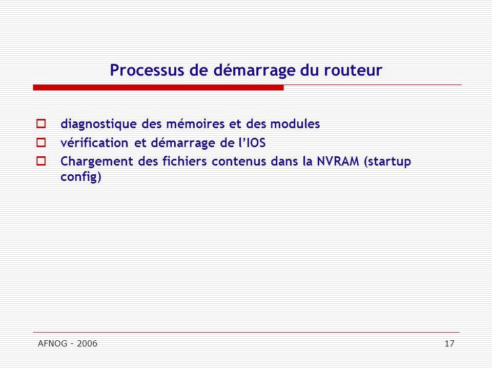 AFNOG - 200617 Processus de démarrage du routeur diagnostique des mémoires et des modules vérification et démarrage de lIOS Chargement des fichiers contenus dans la NVRAM (startup config)