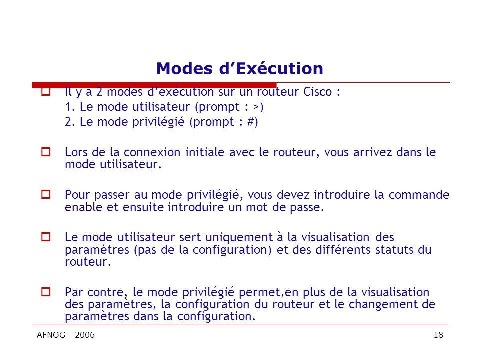 AFNOG - 200618 Modes dExécution Il y a 2 modes dexécution sur un routeur Cisco : 1.