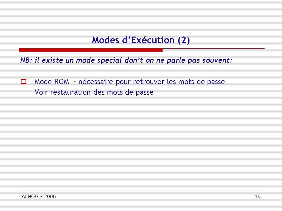 AFNOG - 200619 Modes dExécution (2) NB: il existe un mode special dont on ne parle pas souvent: Mode ROM – nécessaire pour retrouver les mots de passe Voir restauration des mots de passe