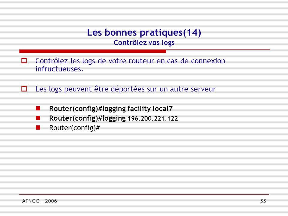 AFNOG - 200655 Les bonnes pratiques(14) Contrôlez vos logs Contrôlez les logs de votre routeur en cas de connexion infructueuses.