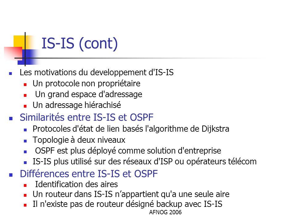 AFNOG 2006 IS-IS (cont) Les motivations du developpement d'IS-IS Un protocole non propriétaire Un grand espace d'adressage Un adressage hiérachisé Sim