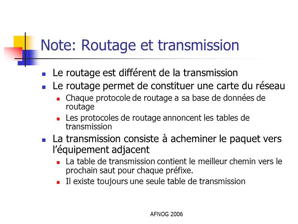 AFNOG 2006 Note: Routage et transmission Le routage est différent de la transmission Le routage permet de constituer une carte du réseau Chaque protoc