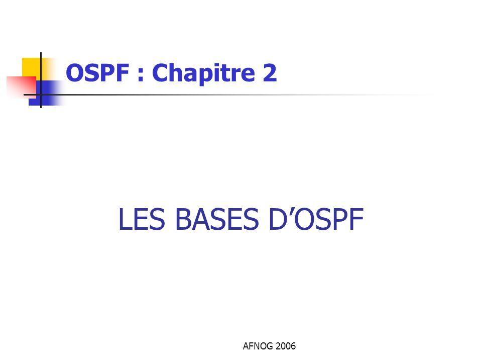 AFNOG 2006 LES BASES DOSPF OSPF : Chapitre 2