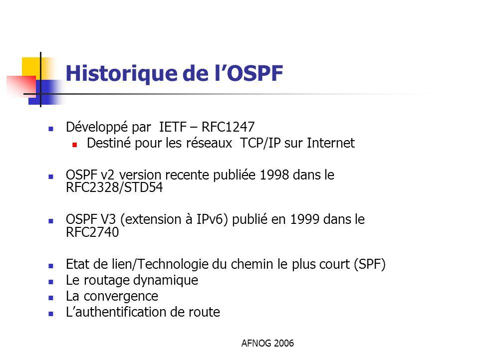 AFNOG 2006 Historique de lOSPF Développé par IETF – RFC1247 Destiné pour les réseaux TCP/IP sur Internet OSPF v2 version recente publiée 1998 dans le