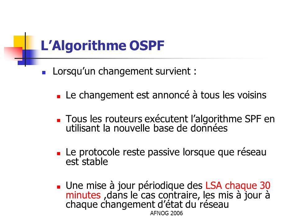 AFNOG 2006 LAlgorithme OSPF Lorsquun changement survient : Le changement est annoncé à tous les voisins Tous les routeurs exécutent lalgorithme SPF en