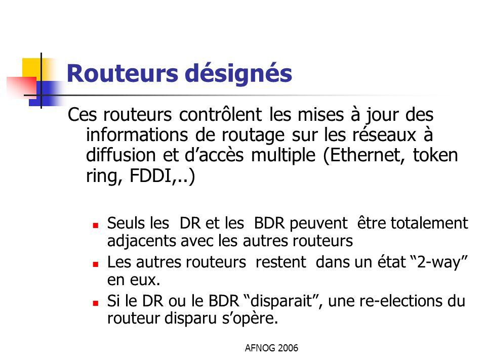 AFNOG 2006 Routeurs désignés Ces routeurs contrôlent les mises à jour des informations de routage sur les réseaux à diffusion et daccès multiple (Ethe