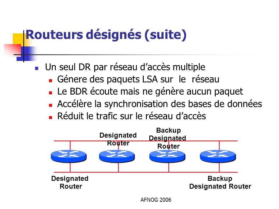AFNOG 2006 Routeurs désignés (suite) Un seul DR par réseau daccès multiple Génere des paquets LSA sur le réseau Le BDR écoute mais ne génère aucun paq