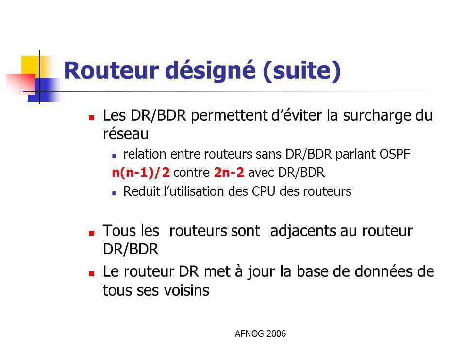AFNOG 2006 Routeur désigné (suite) Les DR/BDR permettent déviter la surcharge du réseau relation entre routeurs sans DR/BDR parlant OSPF n(n-1)/2 cont