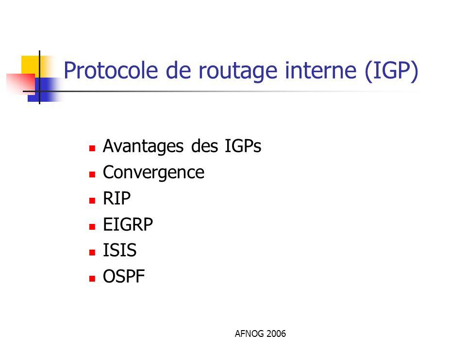 AFNOG 2006 Protocole de routage interne (IGP) Avantages des IGPs Convergence RIP EIGRP ISIS OSPF